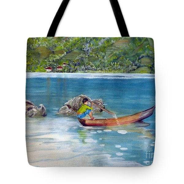 Tote Bag featuring the painting Anak Dan Perahu by Melly Terpening