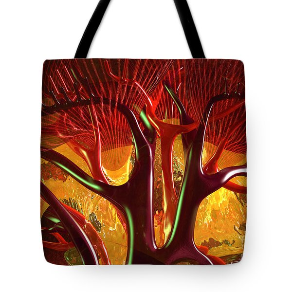 Tote Bag featuring the digital art Anatomy Abstract #1 Kidney by Russell Kightley