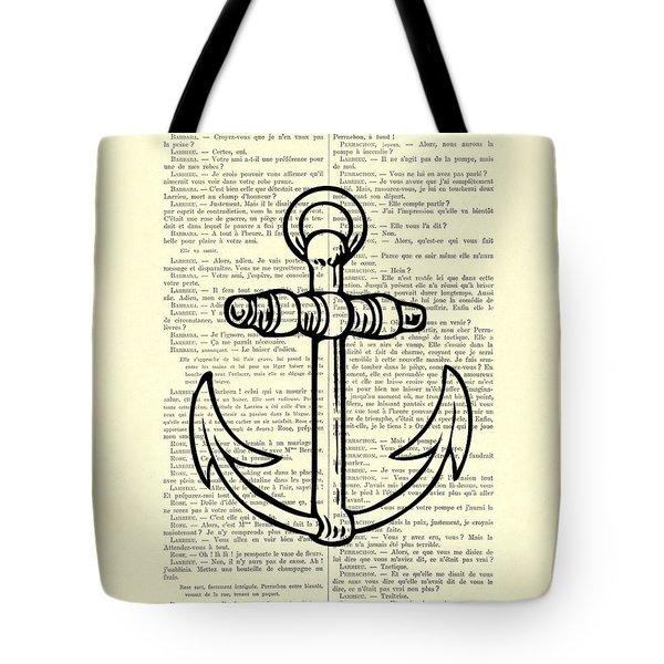Anchor Black Lines Old School Illustration Tote Bag