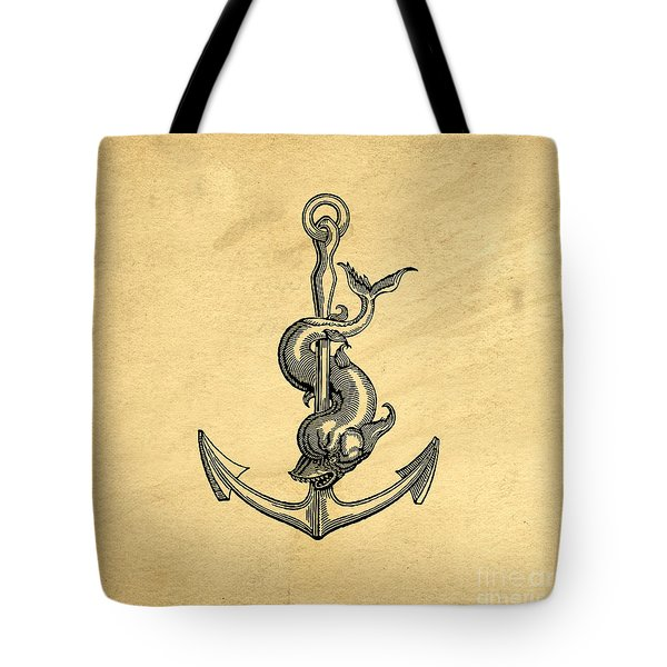 Tote Bag featuring the drawing Anchor Vintage by Edward Fielding