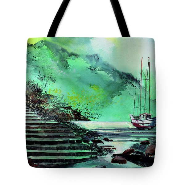 Tote Bag featuring the painting Anchored by Anil Nene