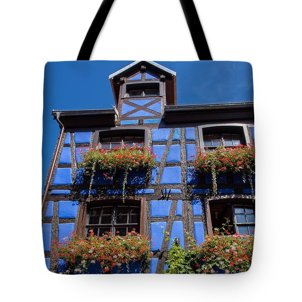 Ancient Alsace Auberge In Blue Tote Bag