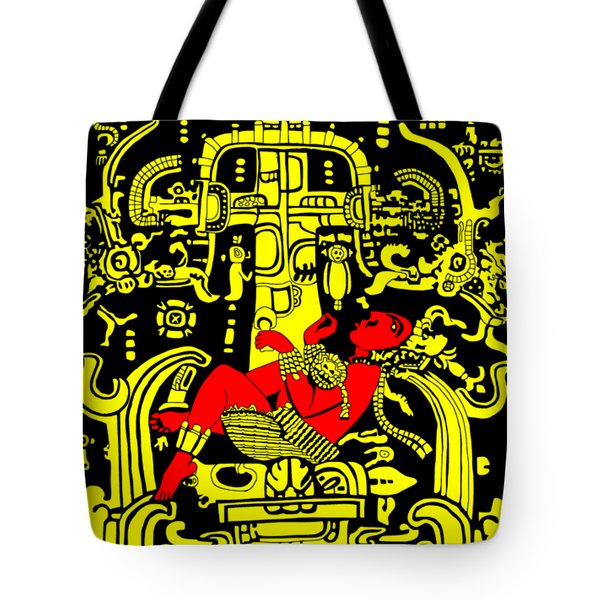 Ancient Astronaut Yellow And Red Version Tote Bag