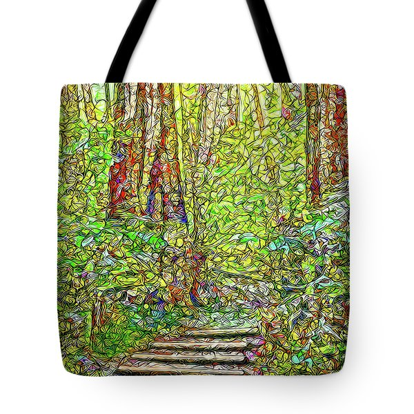 Tote Bag featuring the digital art Ancient Forest Path - Tamalpais California by Joel Bruce Wallach