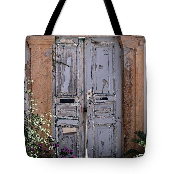 Ancient Garden Doors In Greece Tote Bag