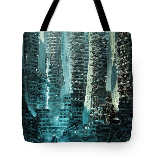 Tote Bag featuring the digital art Ancient Library V1 by Te Hu