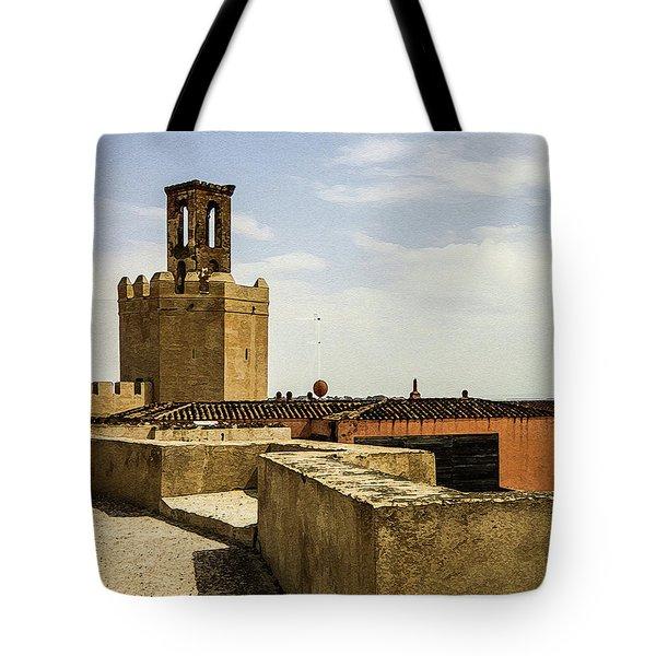 Ancient Moorish Citadel In Badajoz, Spain Tote Bag