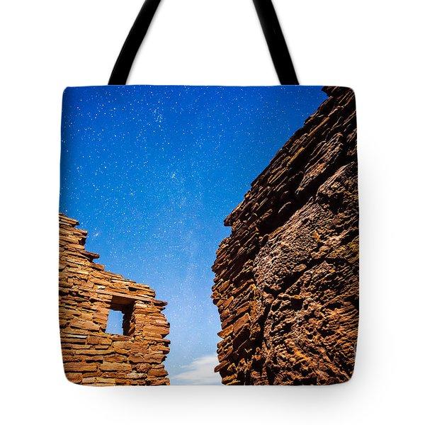 Ancient Native American Pueblo Ruins And Stars At Night Tote Bag