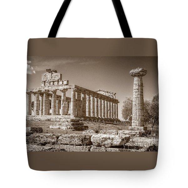 Ancient Paestum Architecture Tote Bag