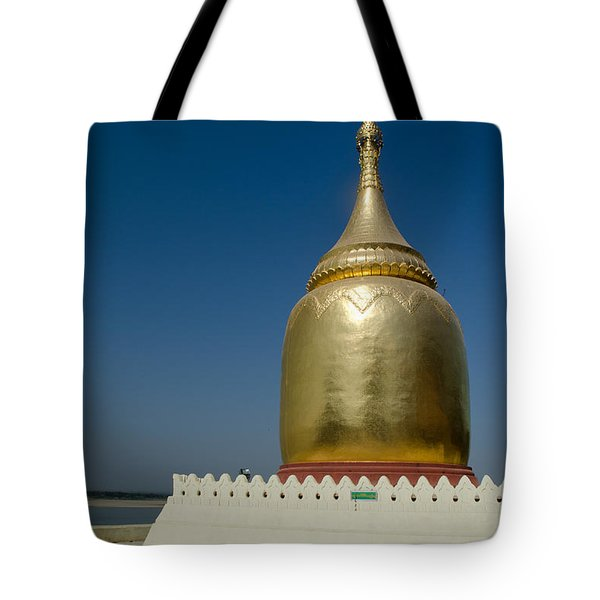 Ancient Riverside Stupa Along The Irrawaddy River In Burma Tote Bag by Jason Rosette