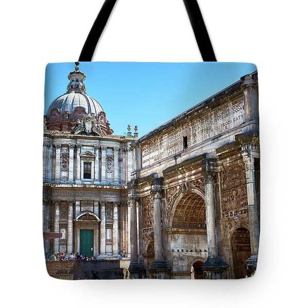 Tote Bag featuring the photograph Ancient Ruins At The Roman Forum by Eduardo Jose Accorinti