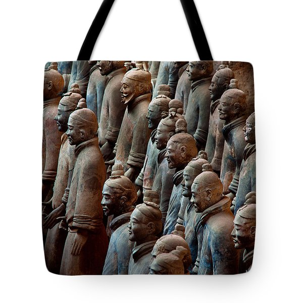 Ancient Soldier Statues Stand At Front Tote Bag by O. Louis Mazzatenta