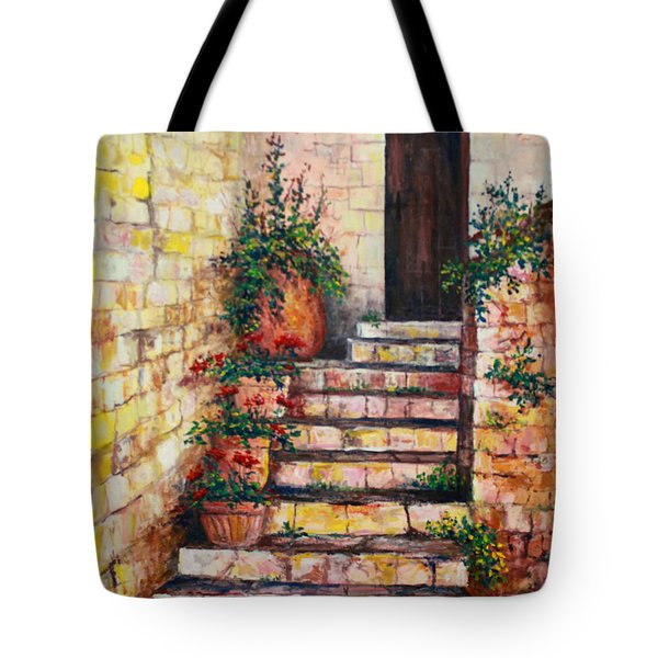 Ancient Stairway Tote Bag by Lou Ann Bagnall