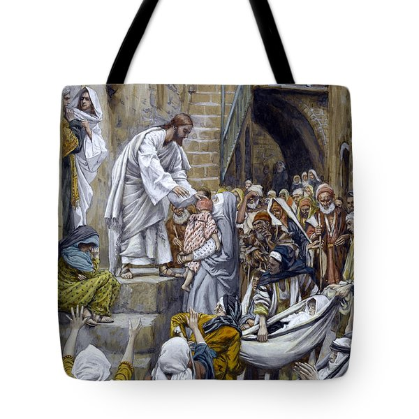 And All The City Was Gathered Together At The Door Tote Bag by Tissot