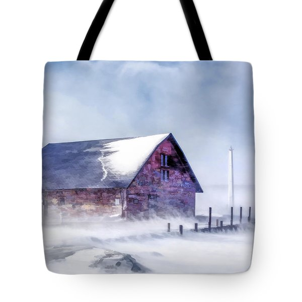 Tote Bag featuring the painting Anderson Dock Winter Storm by Christopher Arndt