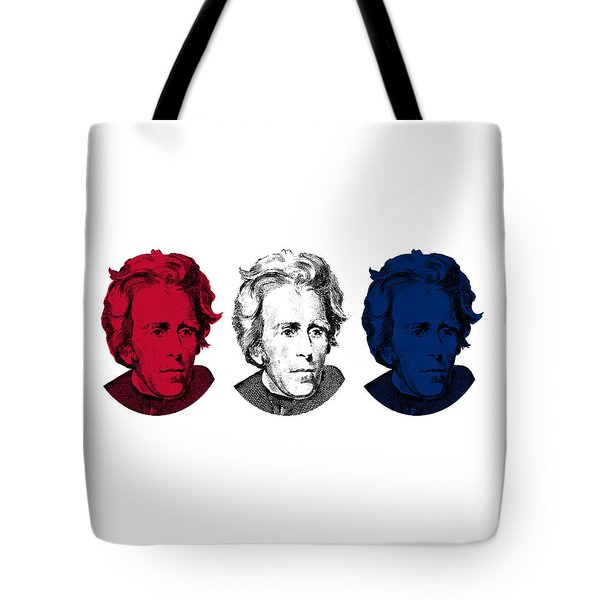 Andrew Jackson Red White And Blue Tote Bag by War Is Hell Store