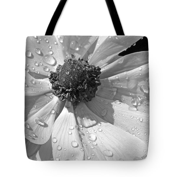 Anemone Poppy In Black And White Tote Bag by Ben and Raisa Gertsberg
