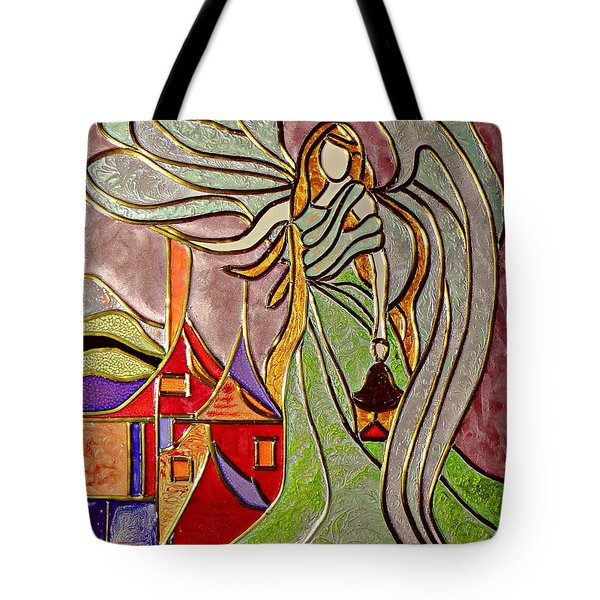 Tote Bag featuring the painting Angel  by AmaS Art
