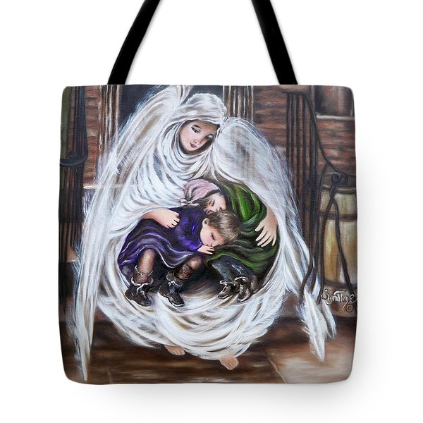 Flying Lamb Productions.        Angel And The Orphans Tote Bag