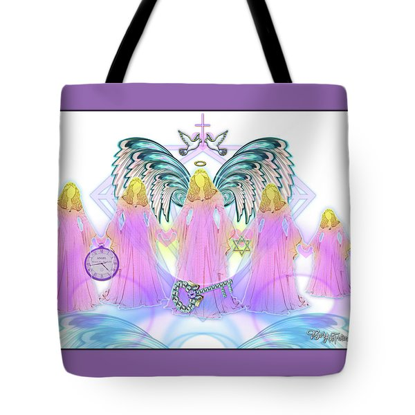 Tote Bag featuring the digital art Angel Cousins #198 by Barbara Tristan