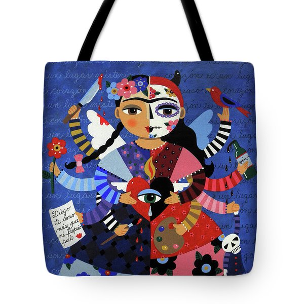 Tote Bag Featuring The Painting Angel Devil 10 Arm Frida Kahlo By LuLu Mypinkturtle