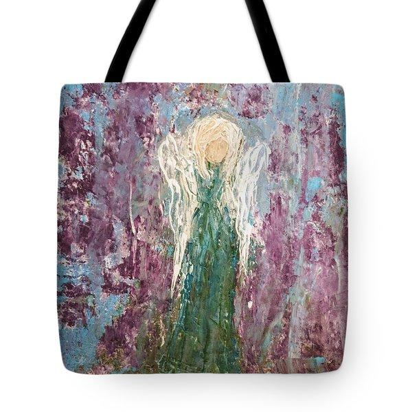 Angel Draped In Hydrangeas Tote Bag
