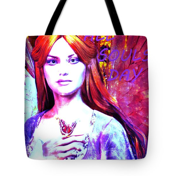 Tote Bag featuring the painting Angel For All Souls Day by Suzanne Silvir