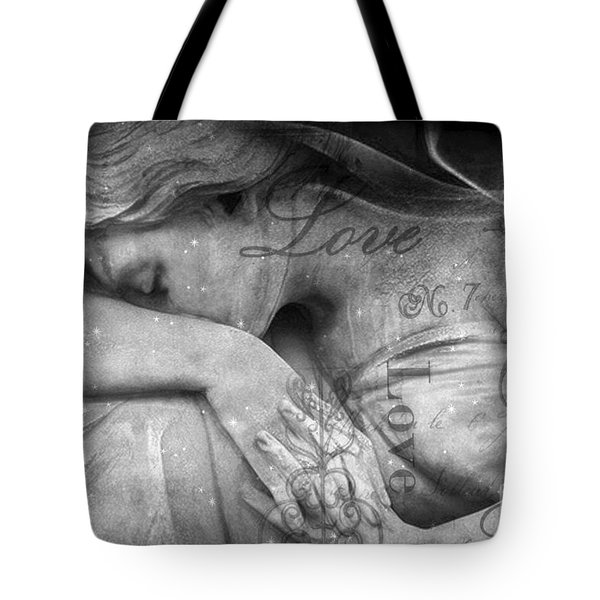 Tote Bag featuring the photograph Angel In Mourning - Angel Crying Sad Cemetery Mourner At Grave - Angel Love Script Valentine Print by Kathy Fornal