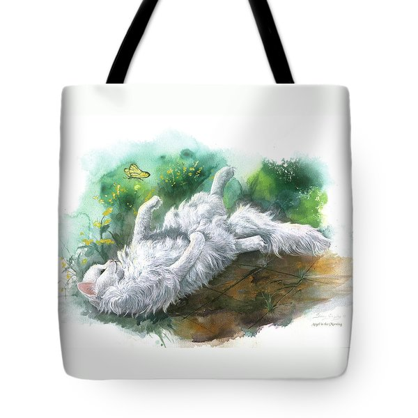 Tote Bag featuring the painting Angel In The Morning by Sherry Shipley