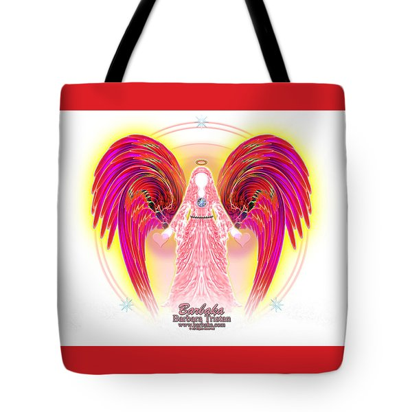 Tote Bag featuring the digital art Angel Intentions Divine Timing by Barbara Tristan