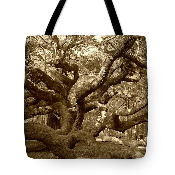 Angel Oak In Sepia Tote Bag