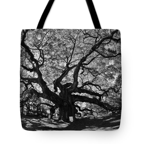 Tote Bag featuring the photograph Angel Oak Johns Island Black And White by Lisa Wooten