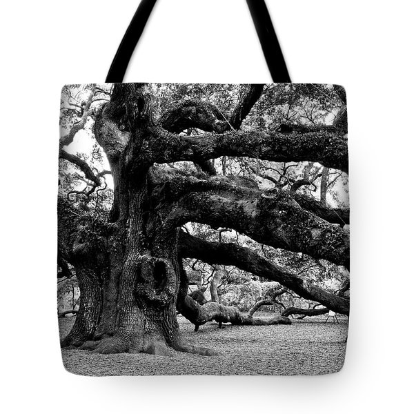 Angel Oak Tree 2009 Black And White Tote Bag by Louis Dallara