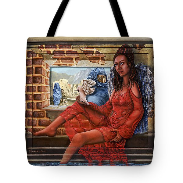 Tote Bag featuring the painting Angel Of Peace by Karen Musick