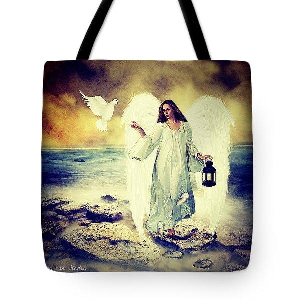 Tote Bag featuring the digital art Angel Of Peace  by Riana Van Staden