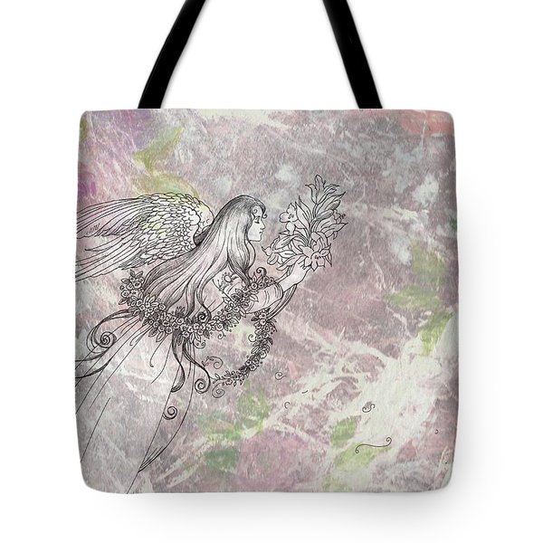Tote Bag featuring the painting Angel On Pink And Green Florals by Judith Cheng