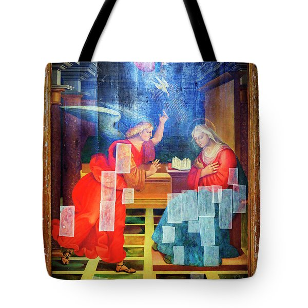 Tote Bag featuring the photograph Angel Speaking To Mary by Craig J Satterlee