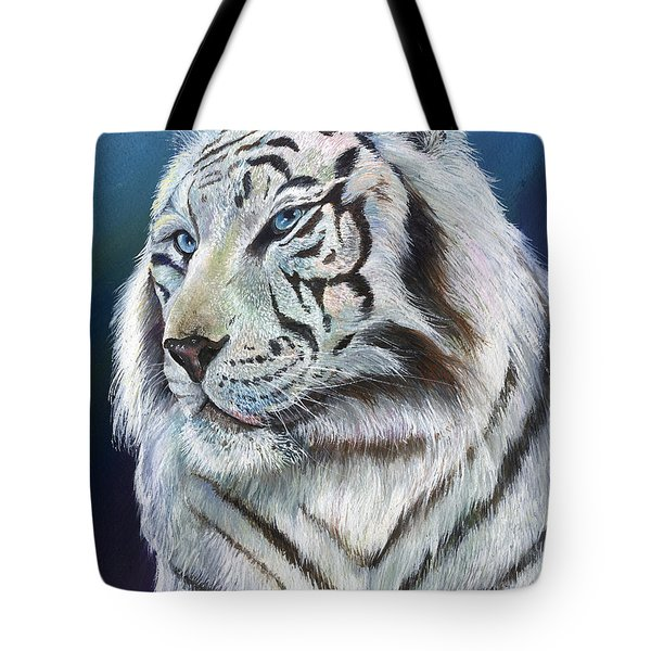 Tote Bag featuring the painting Angel The White Tiger by Sherry Shipley