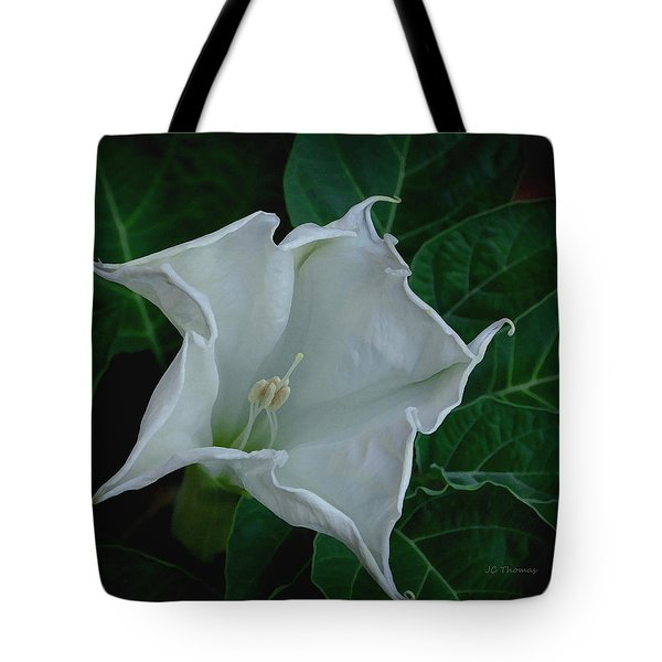 Angel Trumpet Opening Tote Bag by James C Thomas