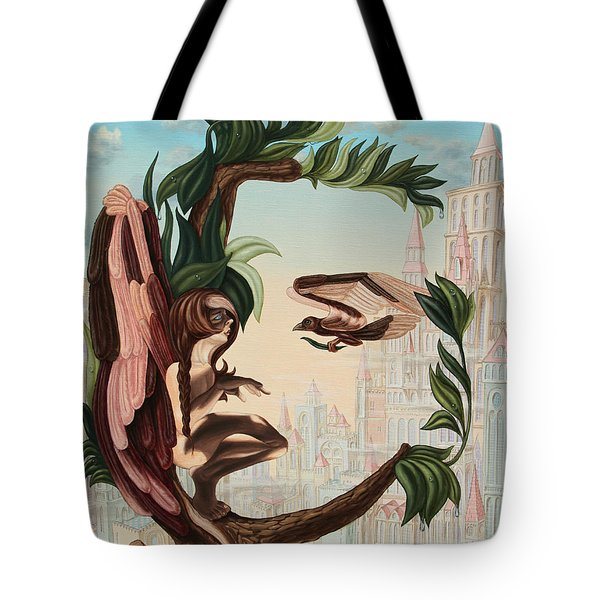 Angel, Watching The Reincarnation Of Marilyn Monroe On The Swinging City Towers Tote Bag
