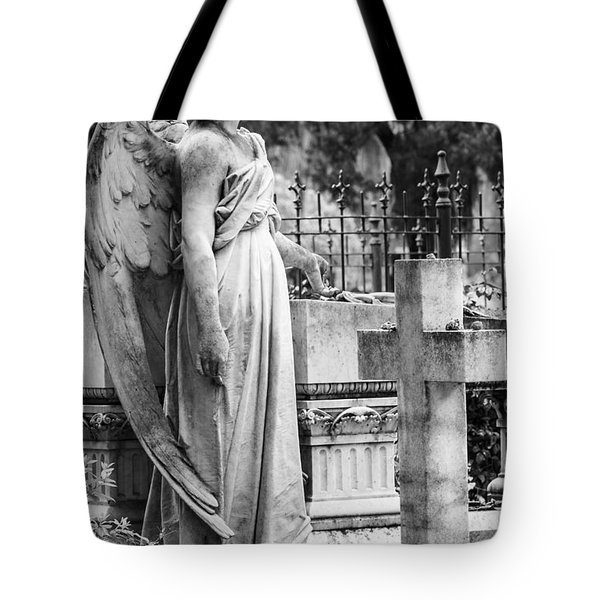 Angel With Cross Of Bonaventure Cemetery Tote Bag by Steven Bateson