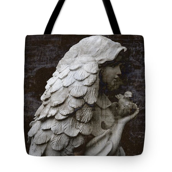 Angel With Dove Of Peace - Angel Art Textured Print Tote Bag