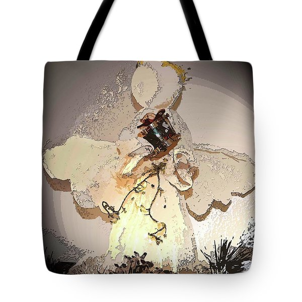 Angel With Drum Tote Bag