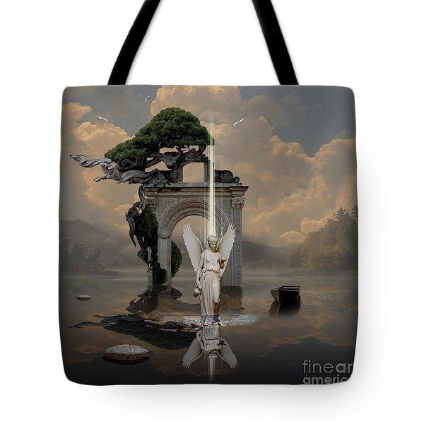 Tote Bag featuring the digital art Angel With Life Elixir by Alexa Szlavics