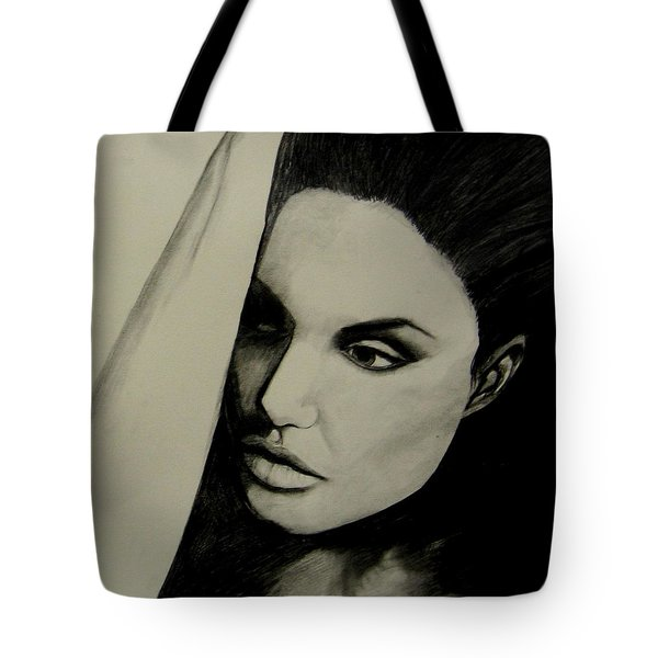 Tote Bag featuring the drawing Angelina by Michelle Dallocchio