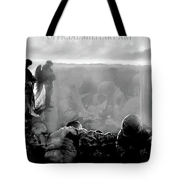 Angels And Brothers Black And White Tote Bag by Todd Krasovetz