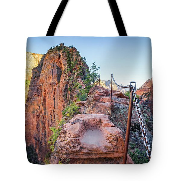 Angels Landing Hiking Trail Tote Bag by JR Photography