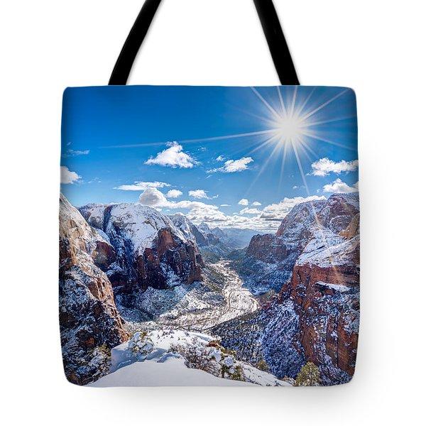 Angels Landing In Winter Tote Bag