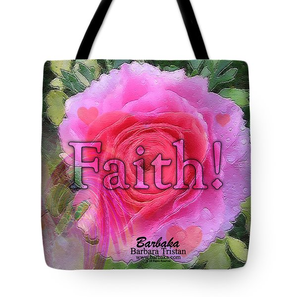 Angels Pink Rose Of Faith Tote Bag by Barbara Tristan