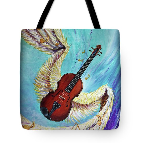 Tote Bag featuring the painting Angel's Song by Nancy Cupp